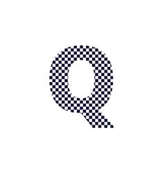Checker pattern logo letter q vector