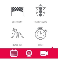 Checkpoint traffic lights and timer icons vector