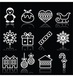 Christmas winter white icons with stroke on black vector