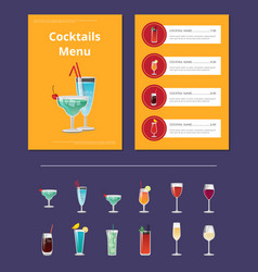 cocktail menu advertisement poster with martini vector image