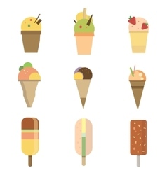 Collection of 9 icon ice cream vector image