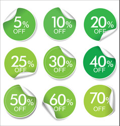 collection of green discount offer price labels vector image