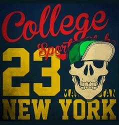 college skull t shirt graphic design vector image