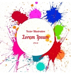 Colorful bright ink splashes over white vector image