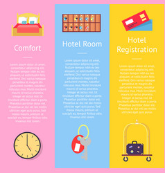 Comfort hotel registration card set of posters vector