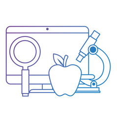 Computer desktop with magnifying glass and apple vector