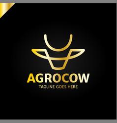 Cow or bull head simple line logo vector
