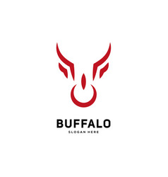 creative and simple bull or buffalo head sign vector image