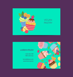 cute cartoon cupcakes business card vector image