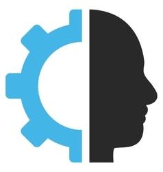 Cyborg gear flat pictograph vector