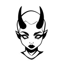 demon girl head with horns vector image