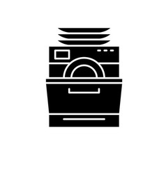 Dish washer black icon sign on isolated vector