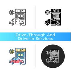 Drive through atm icon vector