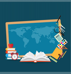 Education design background with world map vector