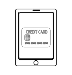 Electronic device with credit card icon on the vector
