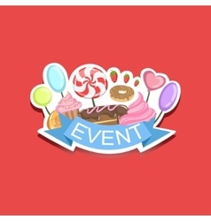 Event Template Label Cute Sticker With Sweets vector image