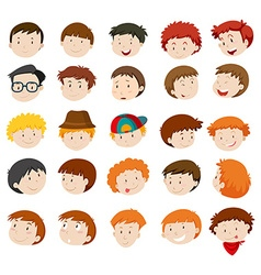 Facial expressions of boys and men vector