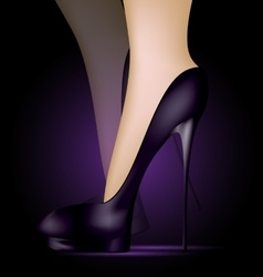 Feet in black shoes vector