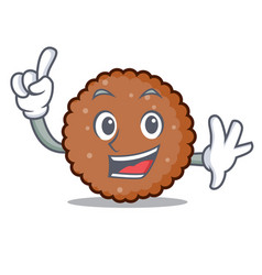 Finger chocolate biscuit mascot cartoon vector
