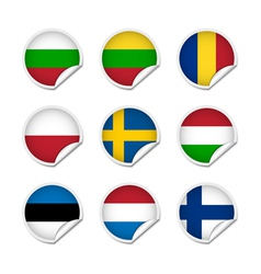 Flag stickers set 3 vector image