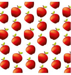 fresh apples fruit natural pattern vector image