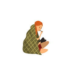 girl sitting on the floor wrapped in a blanket and vector image