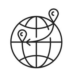 global immigration monochrome line icon vector image