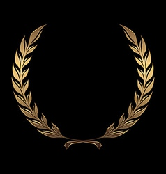 Gold award wreaths laurel on black background vector