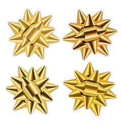 gold bow ribbon 3d set decor elements package vector image