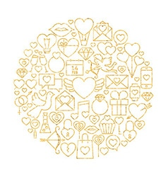 Gold Happy Valentine Day Holiday Line Icons Set vector image