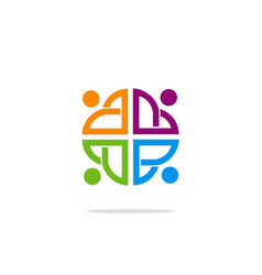Group people diversity colored logo vector