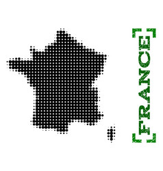 halftone map of france and grunge caption with vector image