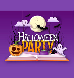 Halloween disco party poster with jack o lantern vector