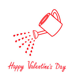 happy valentines day love watering can with red vector image