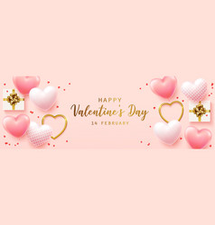 happy valentines day with calligraphy text vector image