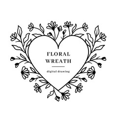 heart floral frame wildflowers floral wreath vector image
