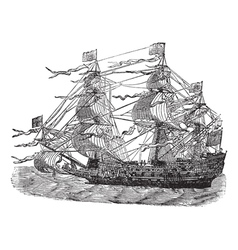 Hms sovereign vintage engraved vector
