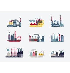 Industrial buildings icons vector