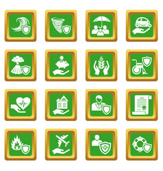 insurance icons set green square vector image