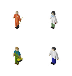 Isometric human set of cleaner doctor plumber vector