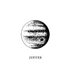 Jupiter planet image on white background hand vector