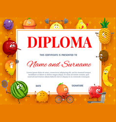 Kids diploma or certificate with tropical fruits vector