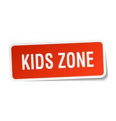 Kids zone square sticker on white vector