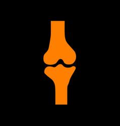 knee joint sign orange icon on black background vector image