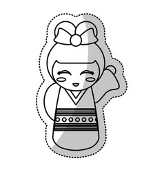 Kokeshi doll geisha traditional line vector