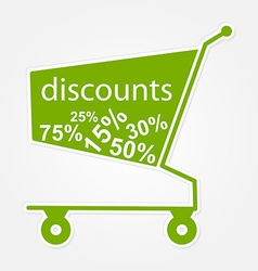 Label shopping cart with discount modern design vector