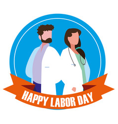 Labour day celebration seal with doctors vector