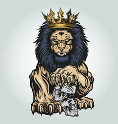 lion aggry king crown annimal skull vector image