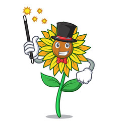 Magician sunflower mascot cartoon style vector