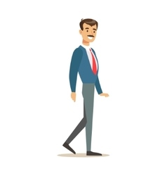 Man In Jacket And Tie Going To Work Part Of vector